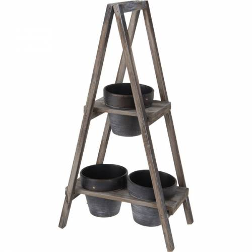 support de pots de fleurs pyramide en bois 3 pots outils et. Black Bedroom Furniture Sets. Home Design Ideas